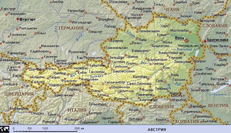 Географическая карта Австрии